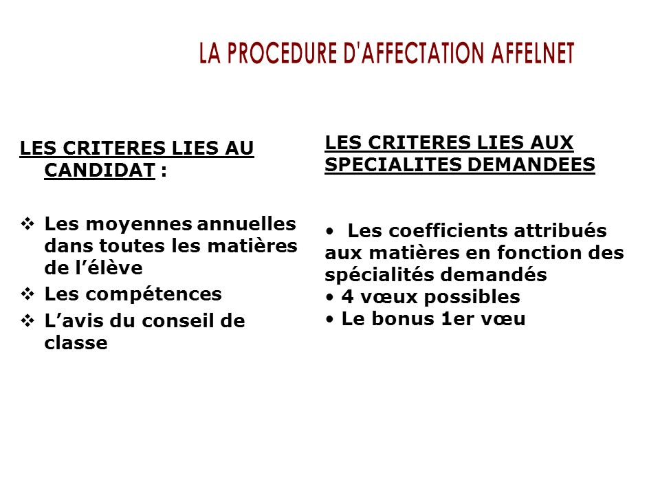 LA PROCEDURE D AFFECTATION AFFELNET