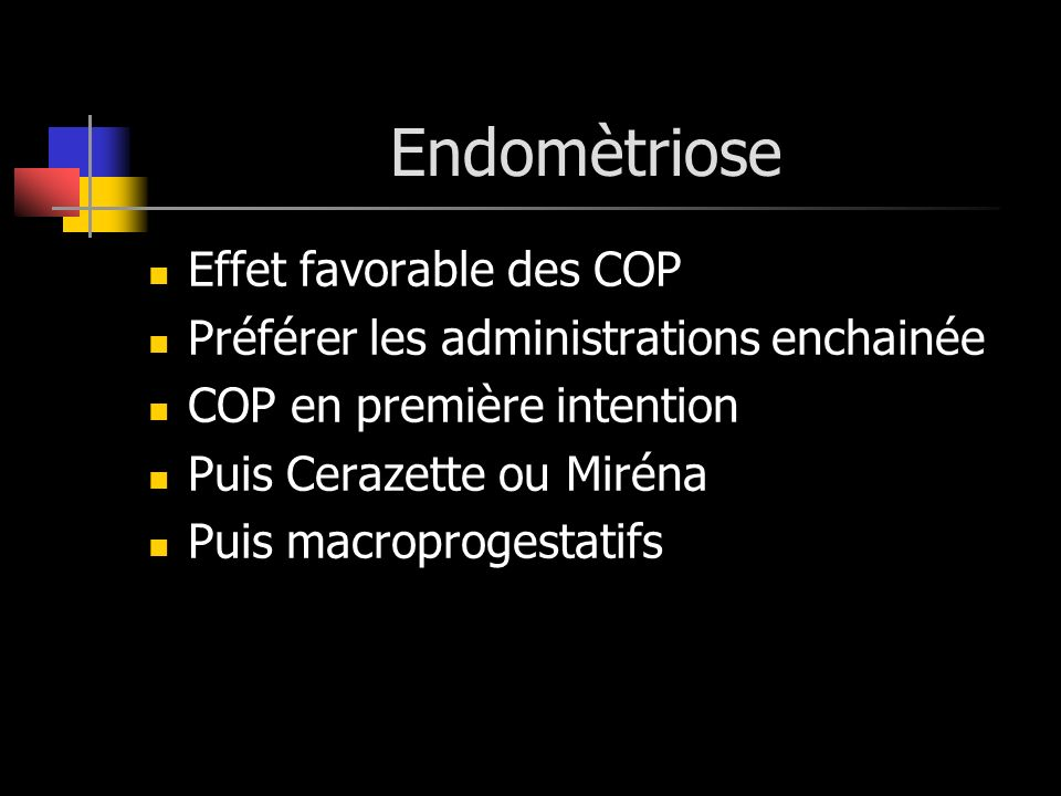 Endomètriose Effet favorable des COP