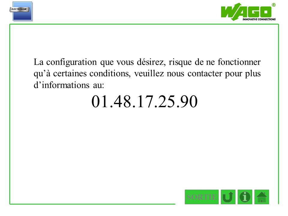 3.1.1 La configuration que vous désirez, risque de ne fonctionner qu'à certaines conditions, veuillez nous contacter pour plus d'informations au: