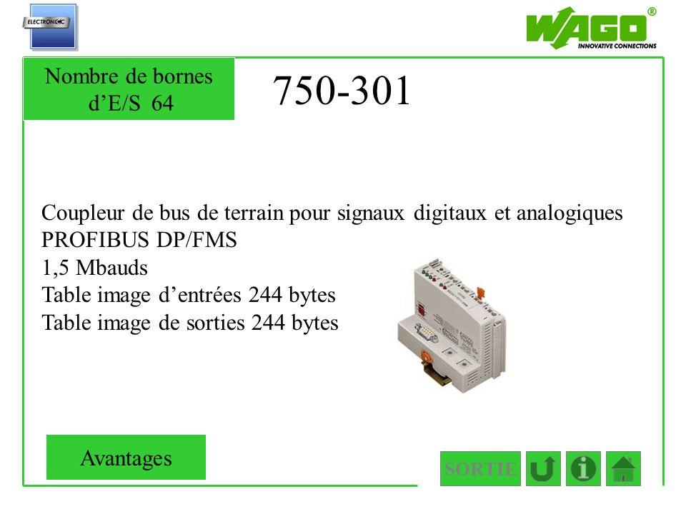 750-301 Nombre de bornes d'E/S 64