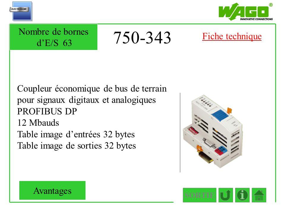 750-343 Nombre de bornes d'E/S 63 Fiche technique