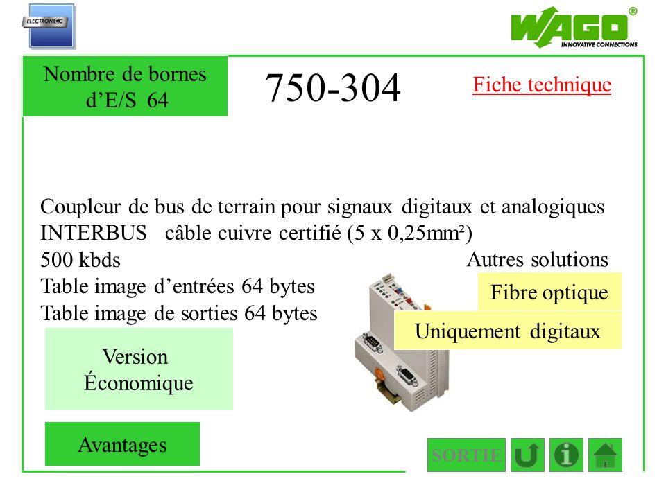 750-304 Nombre de bornes d'E/S 64 Fiche technique