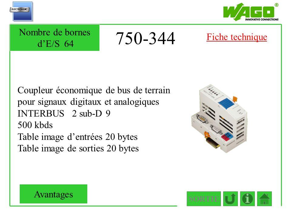 750-344 Nombre de bornes d'E/S 64 Fiche technique