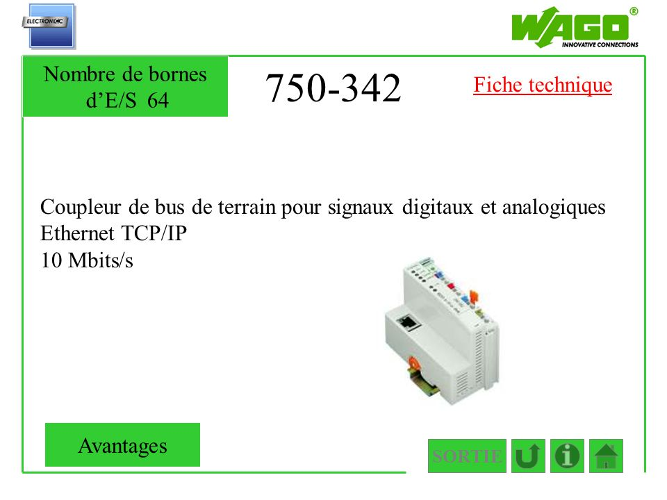 750-342 Nombre de bornes d'E/S 64 Fiche technique