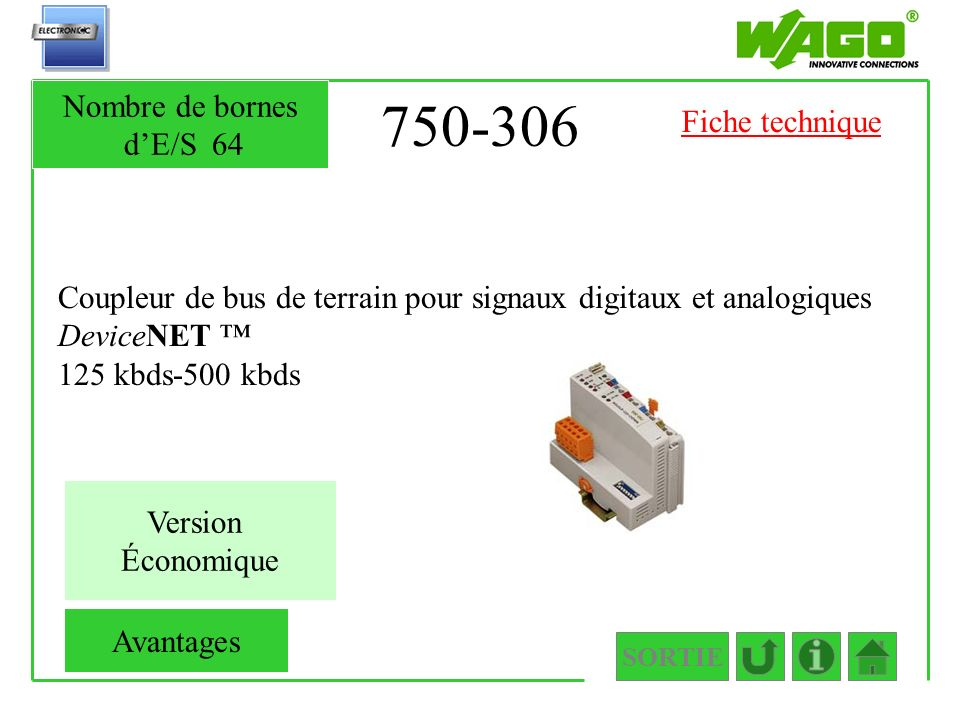 750-306 Nombre de bornes d'E/S 64 Fiche technique