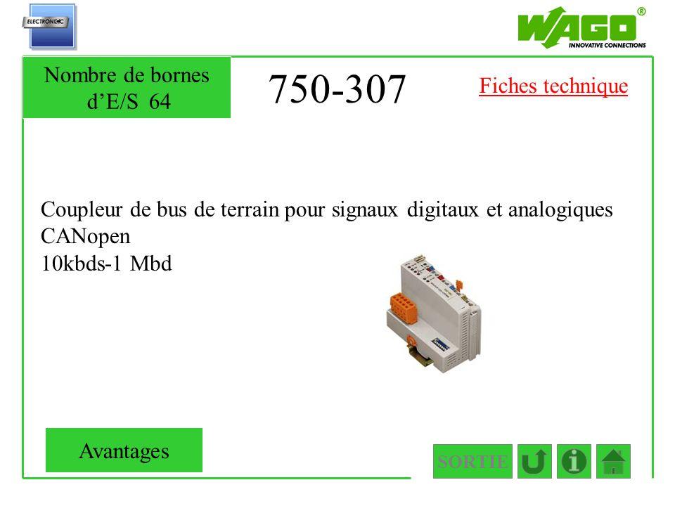 750-307 Nombre de bornes d'E/S 64 Fiches technique