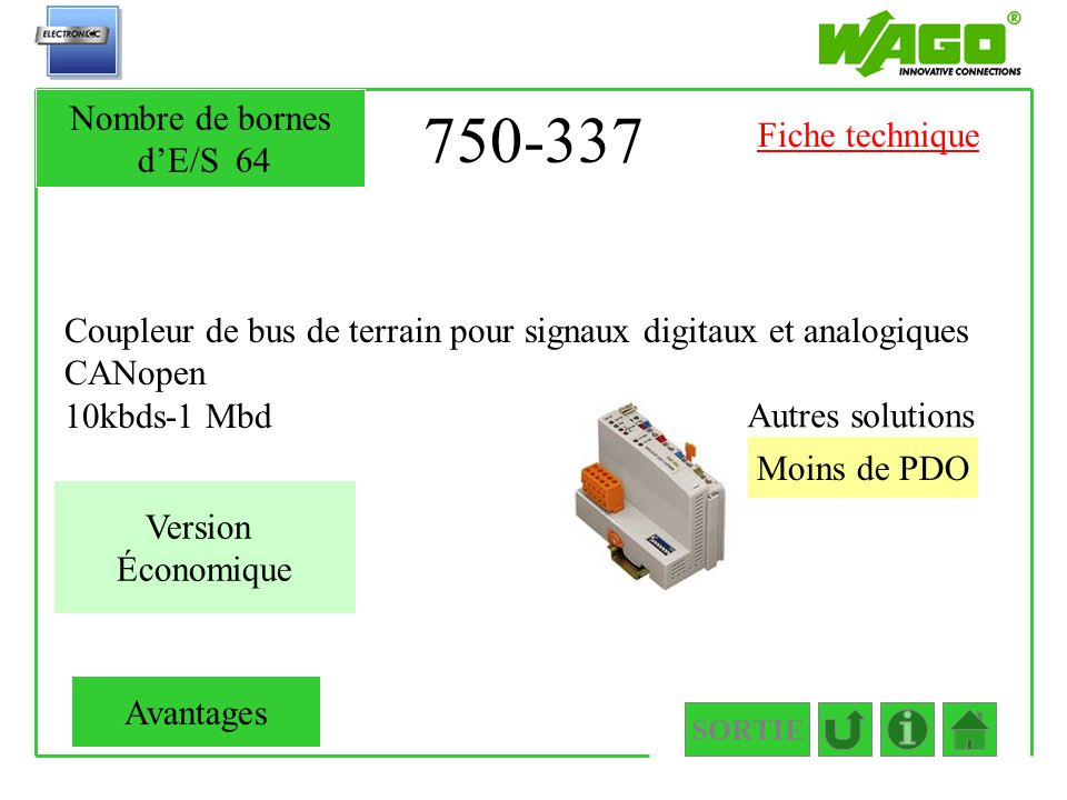 750-337 Nombre de bornes d'E/S 64 Fiche technique