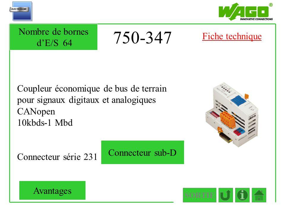 750-347 Nombre de bornes d'E/S 64 Fiche technique
