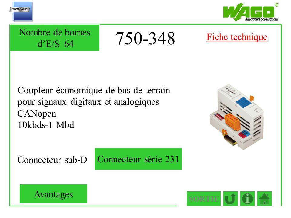 750-348 Nombre de bornes d'E/S 64 Fiche technique