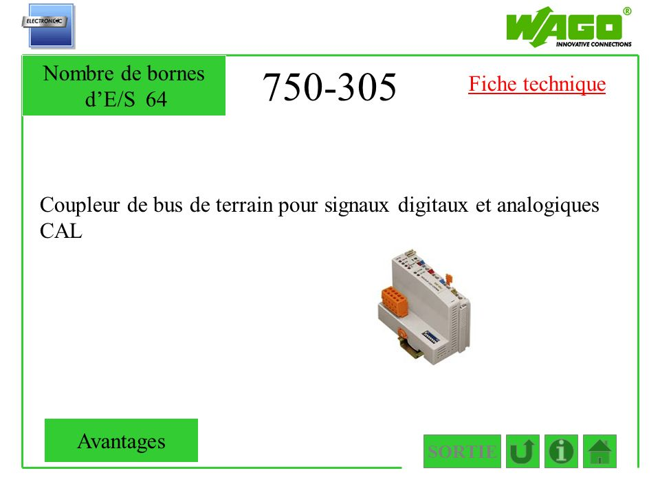 750-305 Nombre de bornes d'E/S 64 Fiche technique