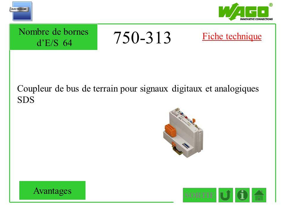 750-313 Nombre de bornes d'E/S 64 Fiche technique