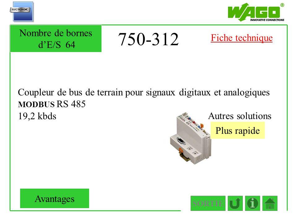 750-312 Nombre de bornes d'E/S 64 Fiche technique