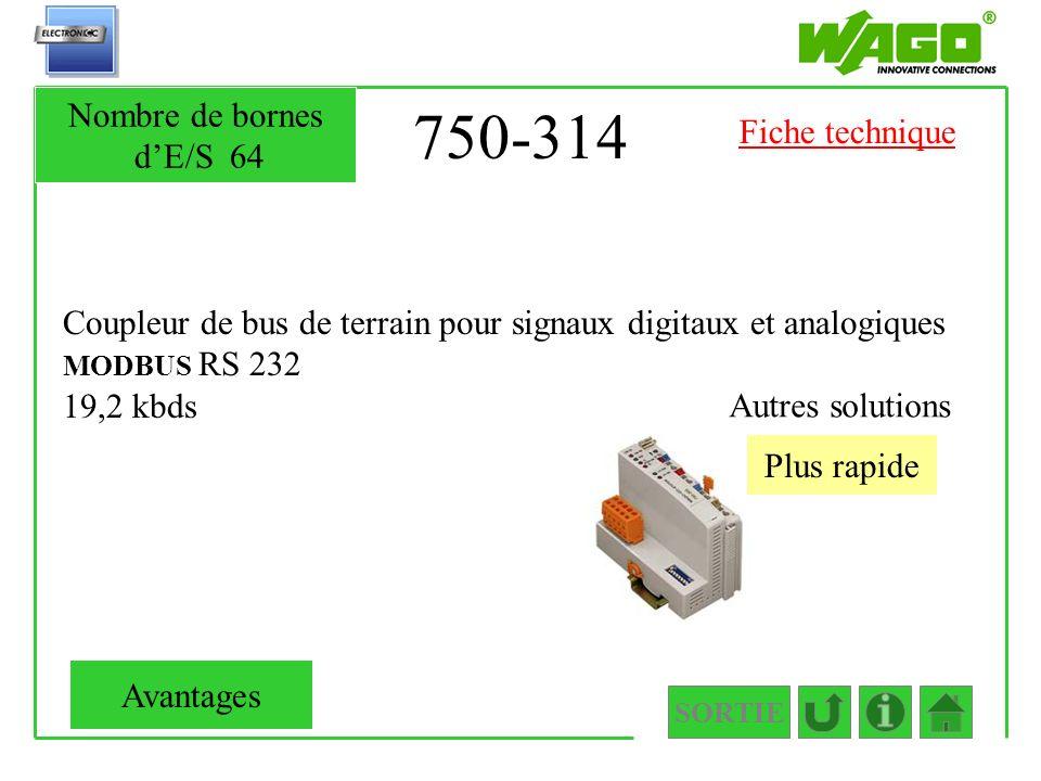 750-314 Nombre de bornes d'E/S 64 Fiche technique