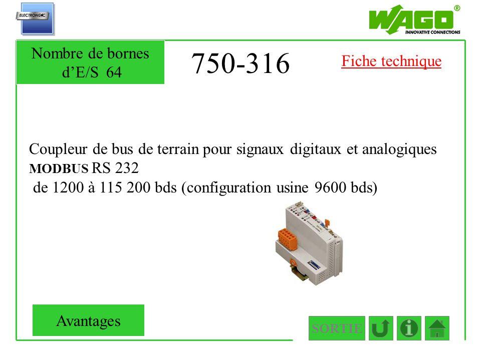 750-316 Nombre de bornes d'E/S 64 Fiche technique