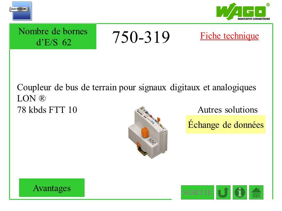 750-319 Nombre de bornes d'E/S 62 Fiche technique
