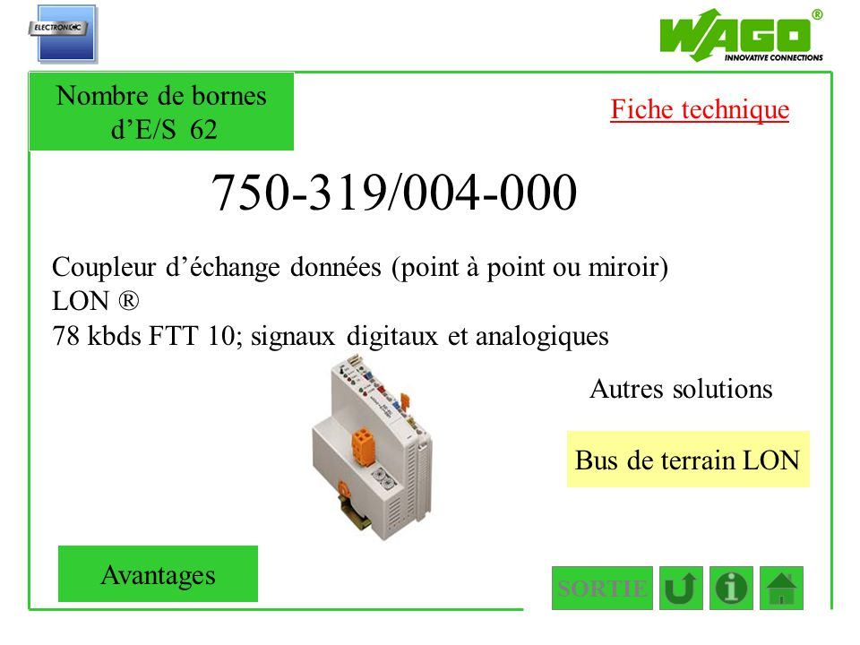 750-319/004-000 Nombre de bornes d'E/S 62 Fiche technique