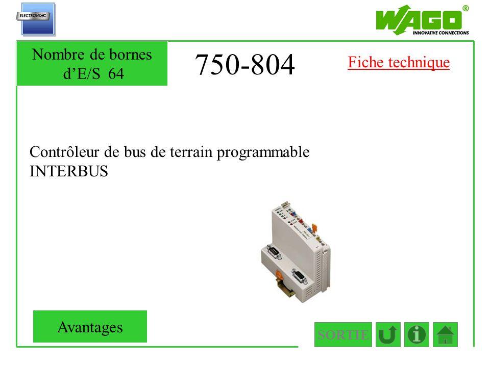 750-804 Nombre de bornes d'E/S 64 Fiche technique