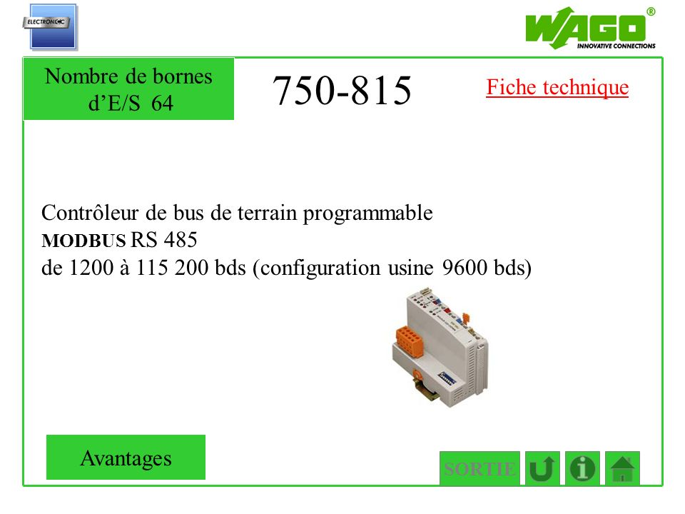 750-815 Nombre de bornes d'E/S 64 Fiche technique