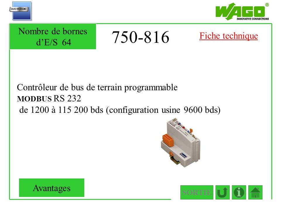 750-816 Nombre de bornes d'E/S 64 Fiche technique