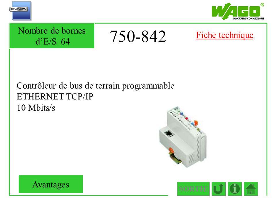 750-842 Nombre de bornes d'E/S 64 Fiche technique