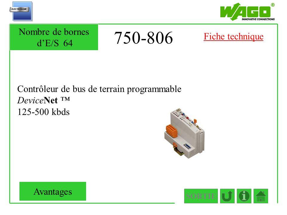 750-806 Nombre de bornes d'E/S 64 Fiche technique