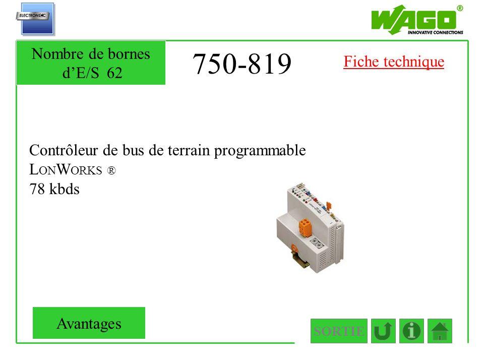 750-819 Nombre de bornes d'E/S 62 Fiche technique