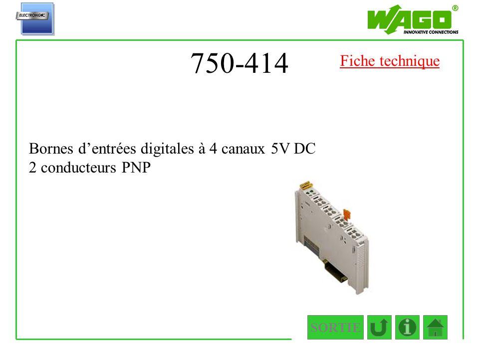 750-414 Fiche technique Bornes d'entrées digitales à 4 canaux 5V DC 2 conducteurs PNP SORTIE
