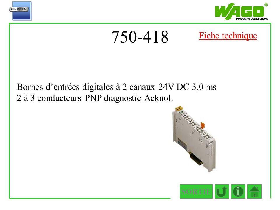 750-418 Fiche technique. Bornes d'entrées digitales à 2 canaux 24V DC 3,0 ms 2 à 3 conducteurs PNP diagnostic Acknol.