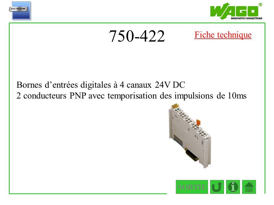 750-422 Fiche technique. Bornes d'entrées digitales à 4 canaux 24V DC 2 conducteurs PNP avec temporisation des impulsions de 10ms.
