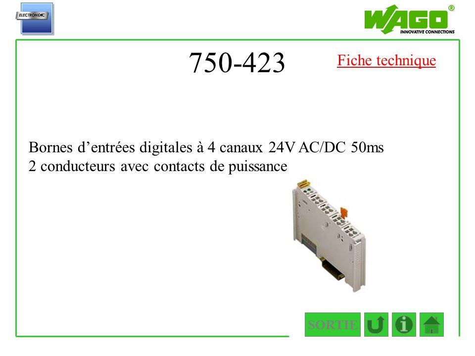 750-423 Fiche technique. Bornes d'entrées digitales à 4 canaux 24V AC/DC 50ms 2 conducteurs avec contacts de puissance.