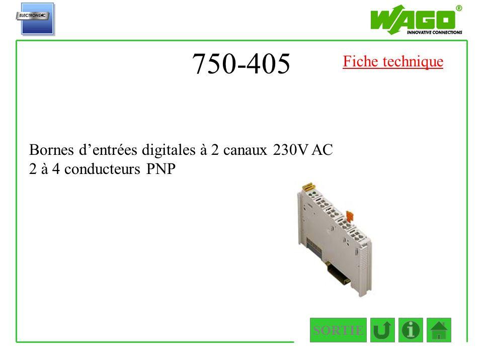 750-405 Fiche technique Bornes d'entrées digitales à 2 canaux 230V AC 2 à 4 conducteurs PNP SORTIE