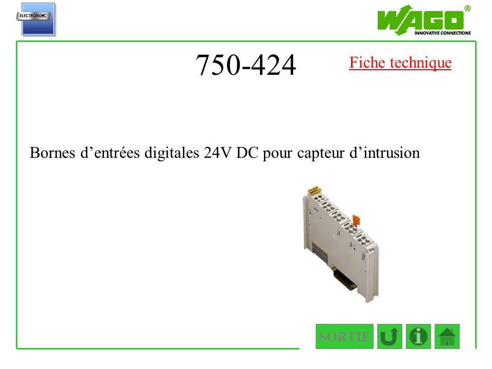 750-424 Fiche technique Bornes d'entrées digitales 24V DC pour capteur d'intrusion SORTIE