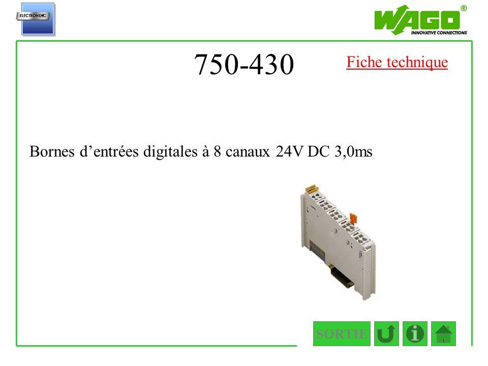 750-430 Fiche technique Bornes d'entrées digitales à 8 canaux 24V DC 3,0ms SORTIE