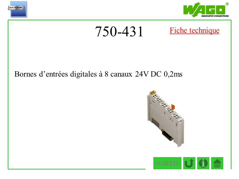 750-431 Fiche technique Bornes d'entrées digitales à 8 canaux 24V DC 0,2ms SORTIE