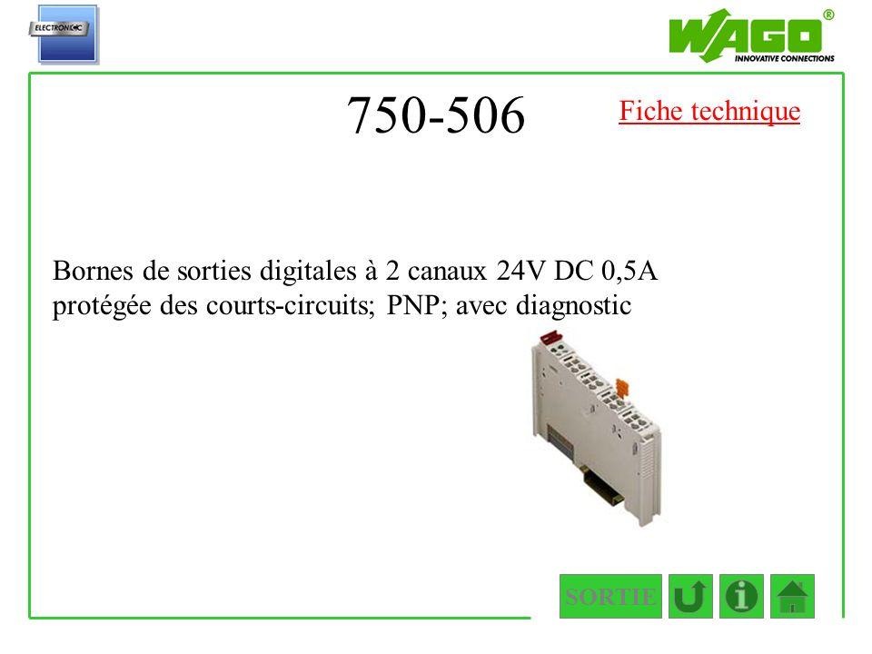 750-506 Fiche technique. Bornes de sorties digitales à 2 canaux 24V DC 0,5A protégée des courts-circuits; PNP; avec diagnostic.