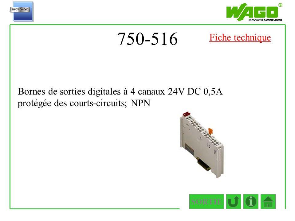 750-516 Fiche technique. Bornes de sorties digitales à 4 canaux 24V DC 0,5A protégée des courts-circuits; NPN.
