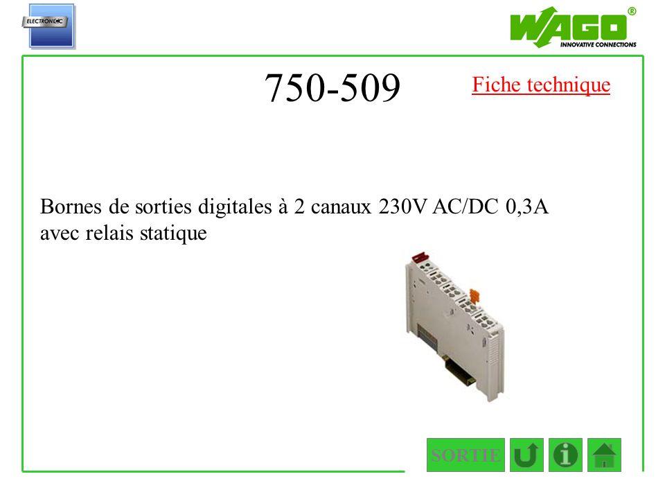 750-509 Fiche technique. Bornes de sorties digitales à 2 canaux 230V AC/DC 0,3A avec relais statique.