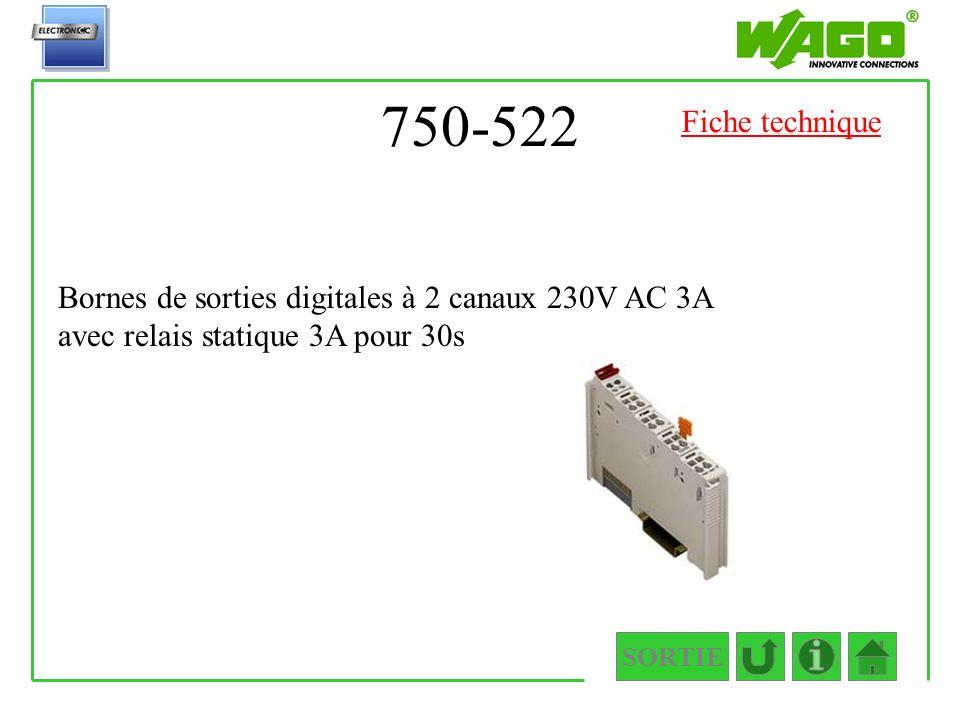 750-522 Fiche technique. Bornes de sorties digitales à 2 canaux 230V AC 3A avec relais statique 3A pour 30s.