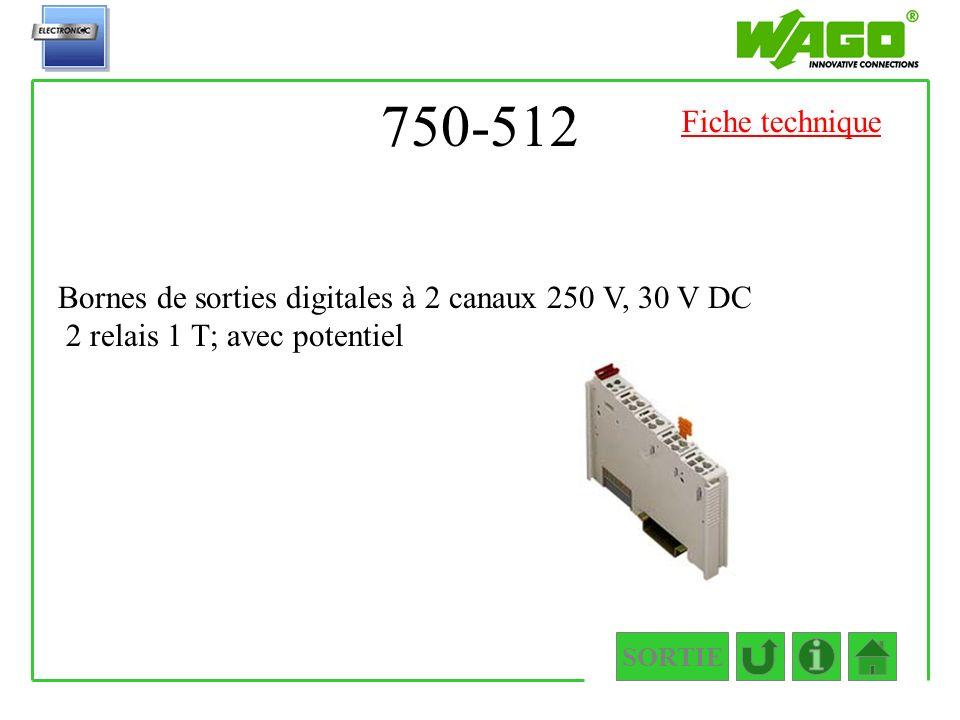 750-512 Fiche technique. Bornes de sorties digitales à 2 canaux 250 V, 30 V DC 2 relais 1 T; avec potentiel.