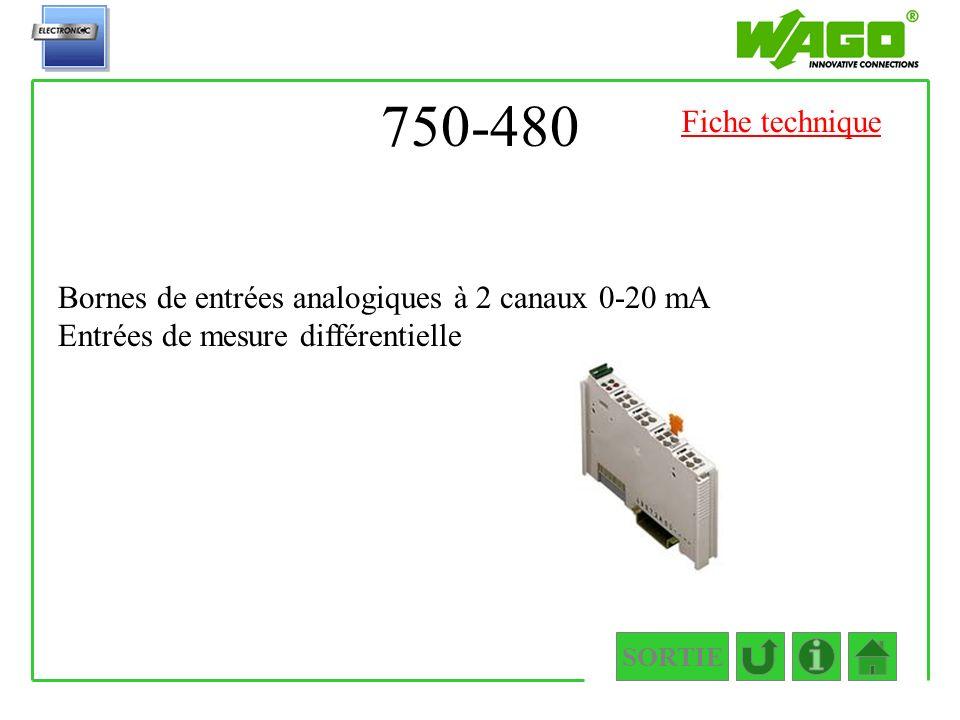 750-480 Fiche technique. Bornes de entrées analogiques à 2 canaux 0-20 mA Entrées de mesure différentielle.