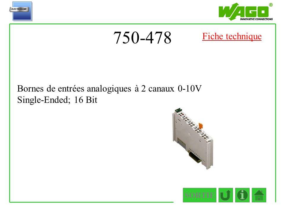 750-478 Fiche technique Bornes de entrées analogiques à 2 canaux 0-10V Single-Ended; 16 Bit SORTIE