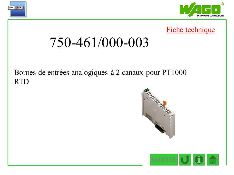 Fiche technique 750-461/000-003 Bornes de entrées analogiques à 2 canaux pour PT1000 RTD SORTIE