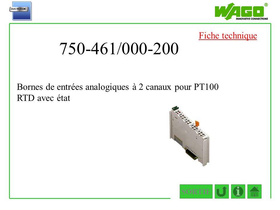 Fiche technique 750-461/000-200. Bornes de entrées analogiques à 2 canaux pour PT100 RTD avec état.