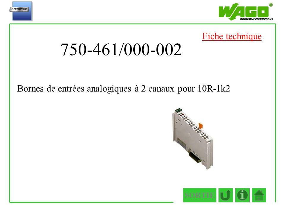 Fiche technique 750-461/000-002 Bornes de entrées analogiques à 2 canaux pour 10R-1k2 SORTIE