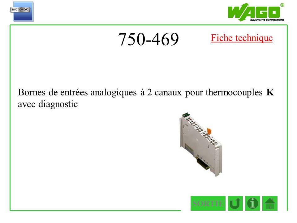 750-469 Fiche technique. Bornes de entrées analogiques à 2 canaux pour thermocouples K avec diagnostic.