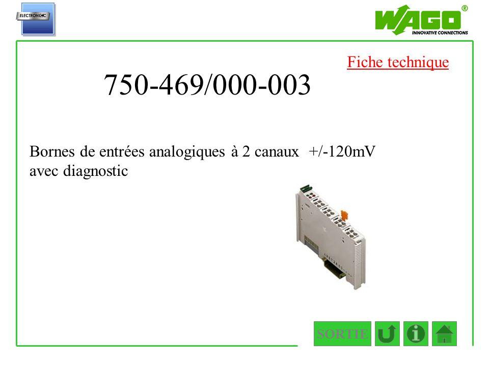Fiche technique 750-469/000-003. Bornes de entrées analogiques à 2 canaux +/-120mV avec diagnostic.