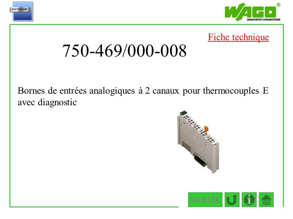 Fiche technique 750-469/000-008. Bornes de entrées analogiques à 2 canaux pour thermocouples E avec diagnostic.