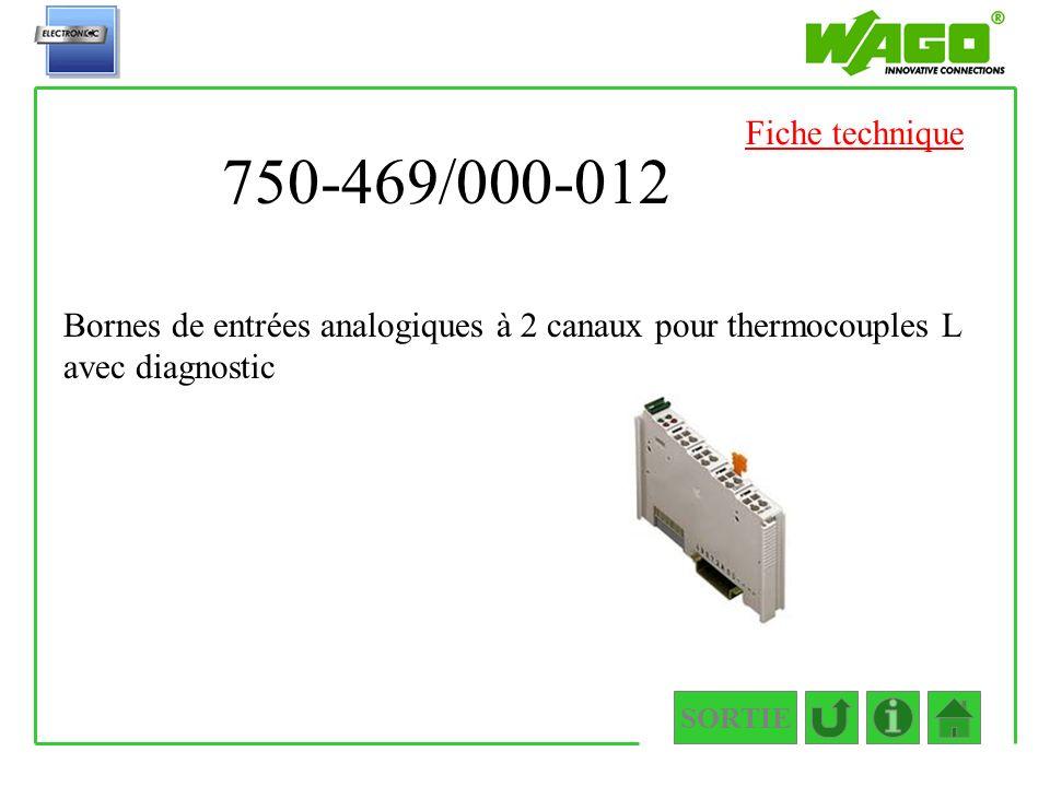 Fiche technique 750-469/000-012. Bornes de entrées analogiques à 2 canaux pour thermocouples L avec diagnostic.