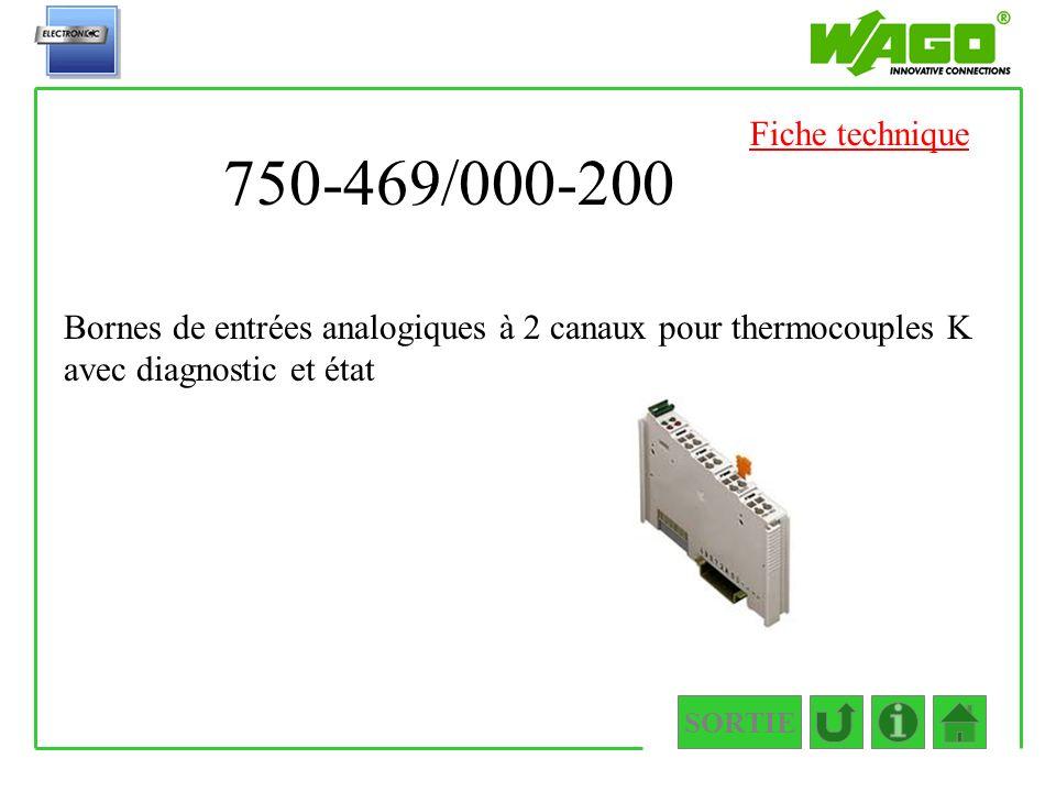 Fiche technique 750-469/000-200. Bornes de entrées analogiques à 2 canaux pour thermocouples K avec diagnostic et état.