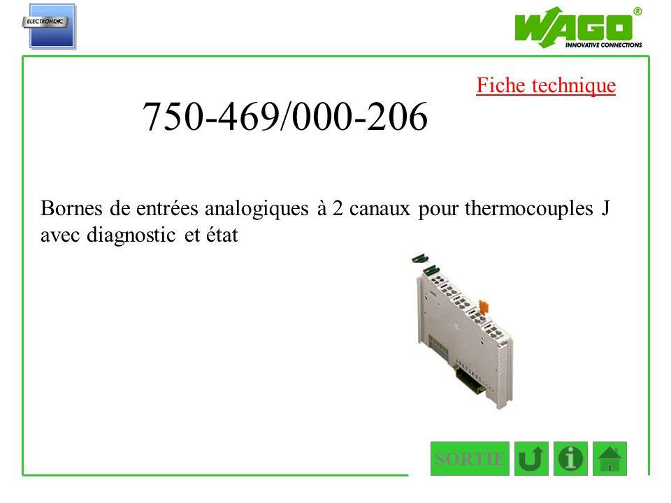 Fiche technique 750-469/000-206. Bornes de entrées analogiques à 2 canaux pour thermocouples J avec diagnostic et état.